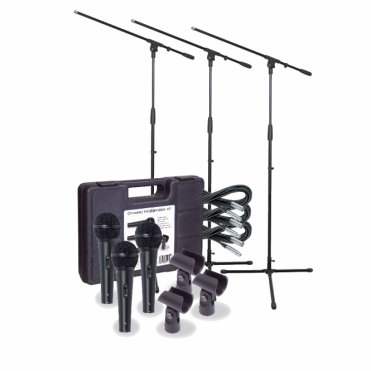 Pro Dynamic Vocal Kit 3 x Microphones, Holders, Leads, Stands & Case