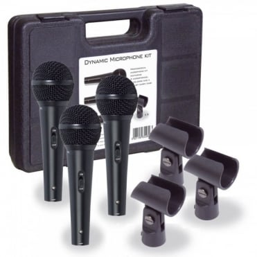 Professional Dynamic Vocal Microphone Kit 3 Microphones, Holders & Case