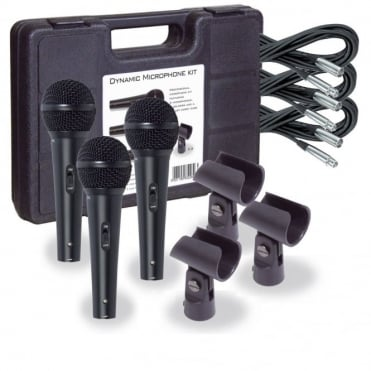 Professional Dynamic Vocal Microphone Kit 3 Microphones, Holders, Leads & Case