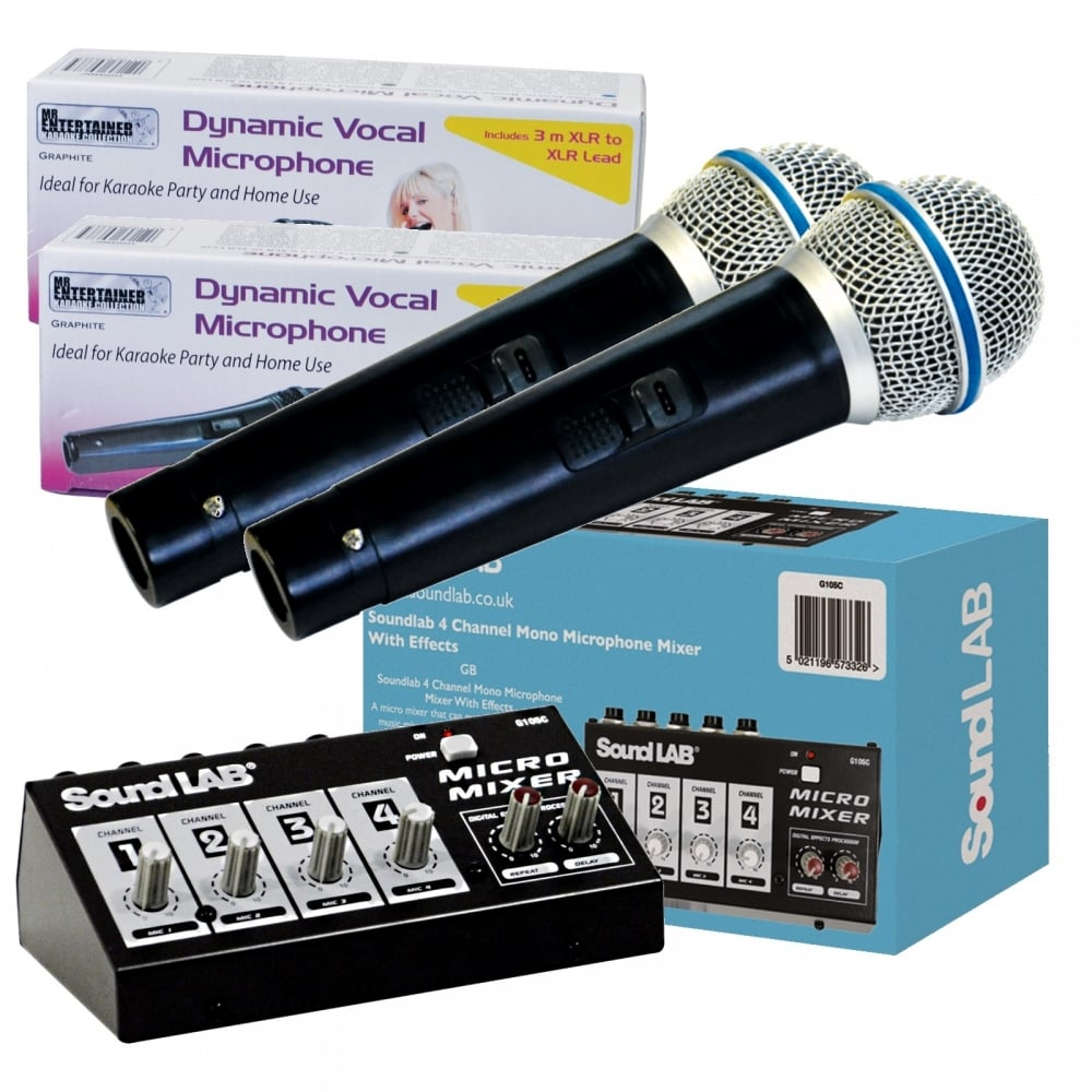 Vocal Echo 4 Channel Mixer Kit inc 2 Microphones For DVD Karaoke TV