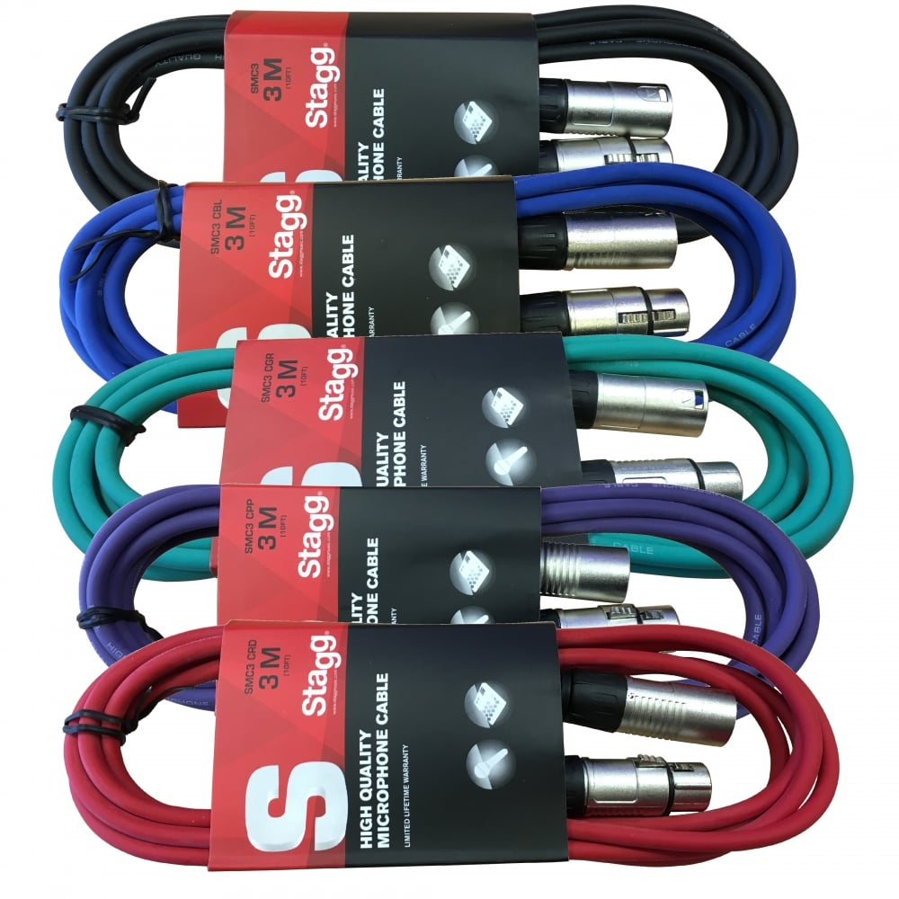 3 Pack 3m Xlr Male To Female Microphone Leads Multi Coloured Packs