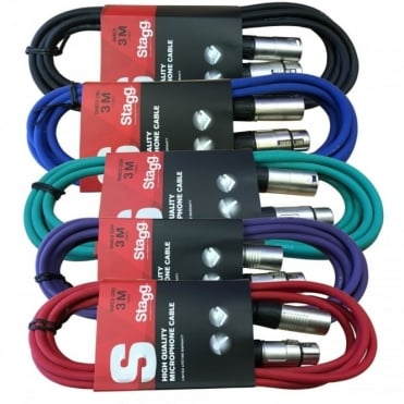 5 x 3M XLR Male to Female Microphone Lead & Audio Signal Cable Balanced Colour