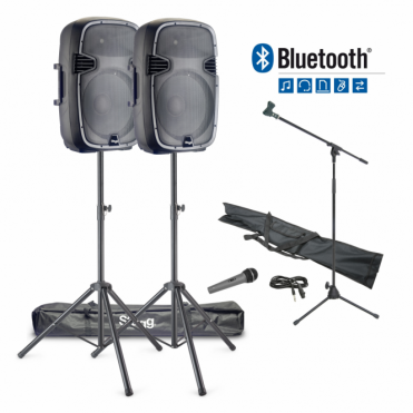"600W Bluetooth Band / Vocal PA System With 15"" Active Speakers & Stands"