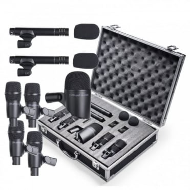 7Kit 7 Piece Drum Microphone Kit inc Case - 4 Tom / Snare, 2 Overhead & Kick Drum Mic