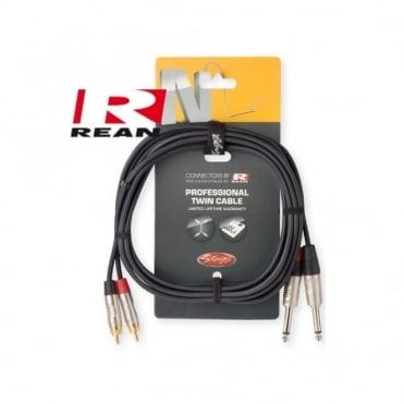 N-Series Neutrik Rean Twin Mono Jack to RCA Phono Lead 3M & 6M