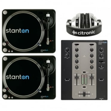 Two Stanton T.52 Turntables And M.302 Scratch Mixer Inc Citronic Headphones