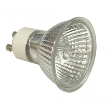 Glass Fronted 240V 50W 4000 Hour 50 Degree GU10 Halogen Lamp