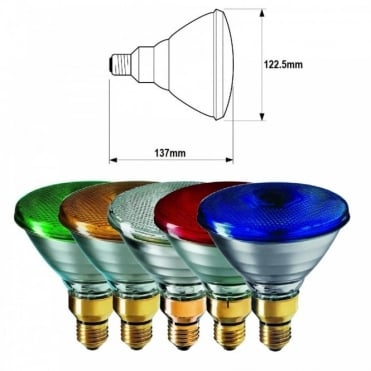 Par38 Coloured Sealed Beam Lamps 80w ES E27 Screw Fitting