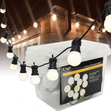 10 Large Warm White LED Festoon Garden String Lights