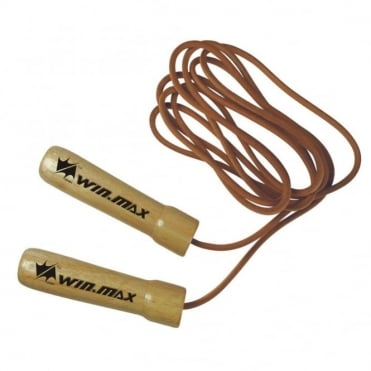 2.75m Wooden Handled Leather Speed Skipping Rope Fitness Boxing Jump Gym