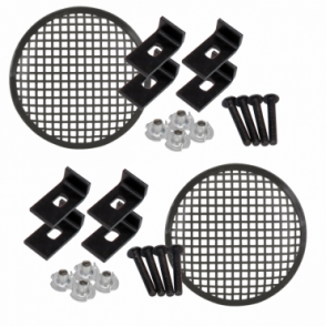 "2 x Black Metal Mesh Speaker Grilles 5-18"" Inc Clamps, Bolts & T-Nuts"