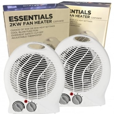 2 x Essentials C20FHW10 Fan Heaters - Seller refurbished Units - Fully working