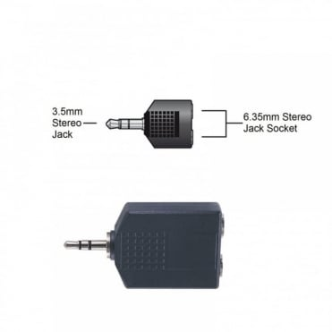 """3.5mm Stereo Jack Plug Male to 2 x 6.35mm 1/4"""" Stereo Socket Female Adapter"""