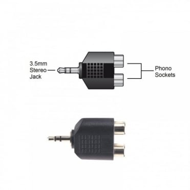 3.5mm Stereo Jack Plug Male to 2 x RCA Phono Socket Female Splitter Adapter