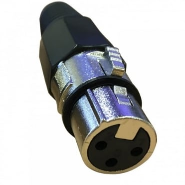 3 Pin XLR Female Socket with Solder Terminals & Cable Protector