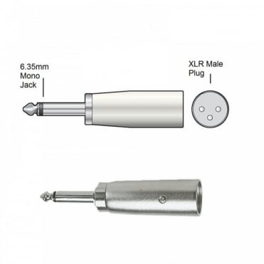 3 Pin XLR Male Plug to 6.35mm Mono Jack Plug Adaptor