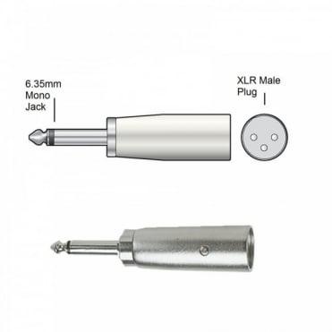 3 Pin XLR Male Plug to 6.35mm Mono Jack Plug Adaptor