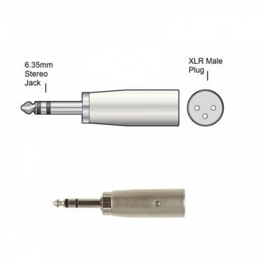 3 Pin XLR Male Plug to 6.35mm Stereo Jack Plug Adaptor