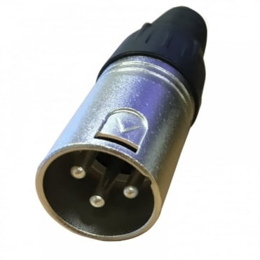 3 Pin XLR Male Plug with Solder Terminals & Cable Protector