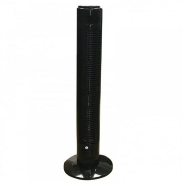 3 Speed Tower Oscillation Fan with Timer and Remote Control in Black