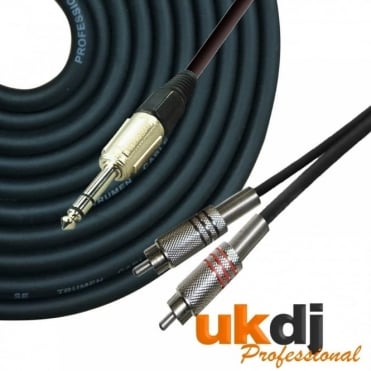 3m 6.35mm 1/4 Inch TRS Jack Stereo to 2 x RCA Phono Cable Audio Lead HQ