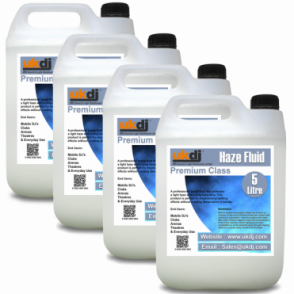 UKDJ 4 x 5L Premium Class Quality Haze Mist Fluid Suitable For Hazer Machines 20L