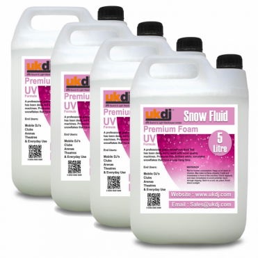 4 x 5L Snow Fluid For Artificial Snowflake Effect Machines UV Formula 20L