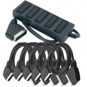 5 Way Scart Splitter Box Video Cable Adapter Connects 5 Devices to 1 TV inc Leads
