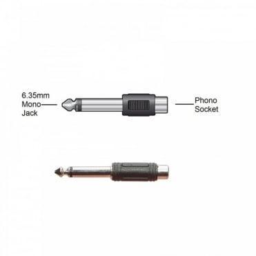 6.35mm Mono Jack Plug to RCA Phono Socket Adaptor