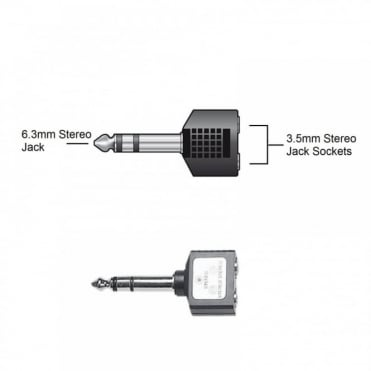 6.35mm Stereo Plug Male to 2 x 3.5mm Stereo Socket Female Adaptor