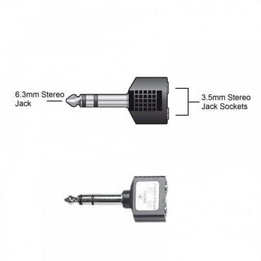 6.35mm Stereo Plug Male to 2 x 3.5mm Stereo Socket Female Adaptor