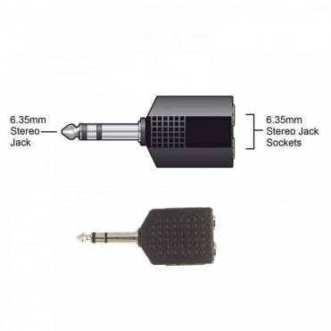 6.35mm Stereo Plug to 2 x 6.35mm Stereo Sockets Adaptor Splitter
