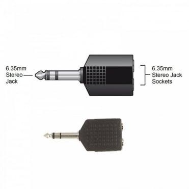 6.35mm Stereo Plug to 2 x 6.35mm Stereo Sockets Adaptor Splitter