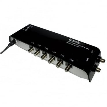 6 Outlet Aerial Signal Amplifier with Digital Bypass and F Connectors DAB SKY