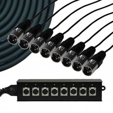 8 Way Metal XLR Multicore Stage Box Snake Wall Mountable XLR 10m