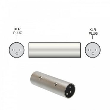 All Metal 3 Pin XLR Coupler Adaptor Male Plug to Male Plug