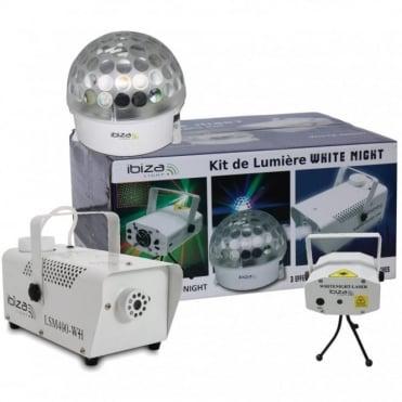 Astro White 3 Light Party Pack Set - LED - Laser - Smoke Machine DJ Disco FX