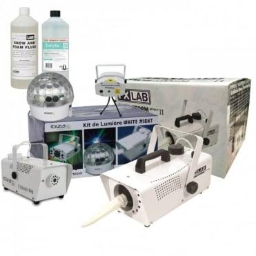 Astro White LED & Laser Light Smoke & Snow Machine Party Set