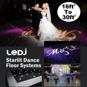 Black LED Starlit Dance Floor Systems from 16ft to 30ft Square