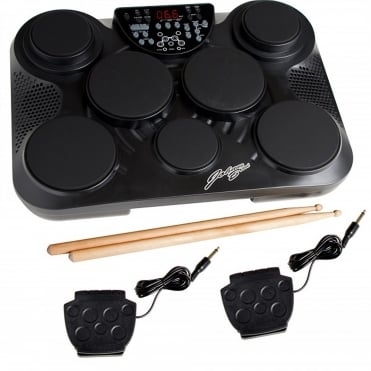 Compact Electronic Drum Kit Table Top 7 Pad Digital Set inc Pedals & Sticks