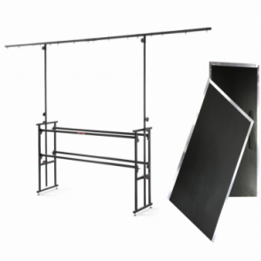 DJ-6T 6ft Deck DJ Stand Inc 12ft Lighting Gantry Overhead inc Deck Shelf