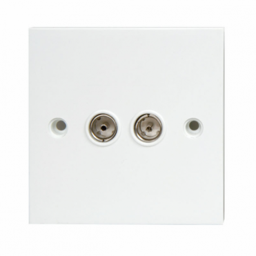 Flush Mount Outlet Plate With TV & FM Coaxial Sockets UHF and VHF