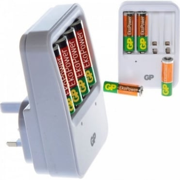 GP EkoPower NiMH Battery Charger for AA & AAA Inc 4 AA Rechargeable Batteries
