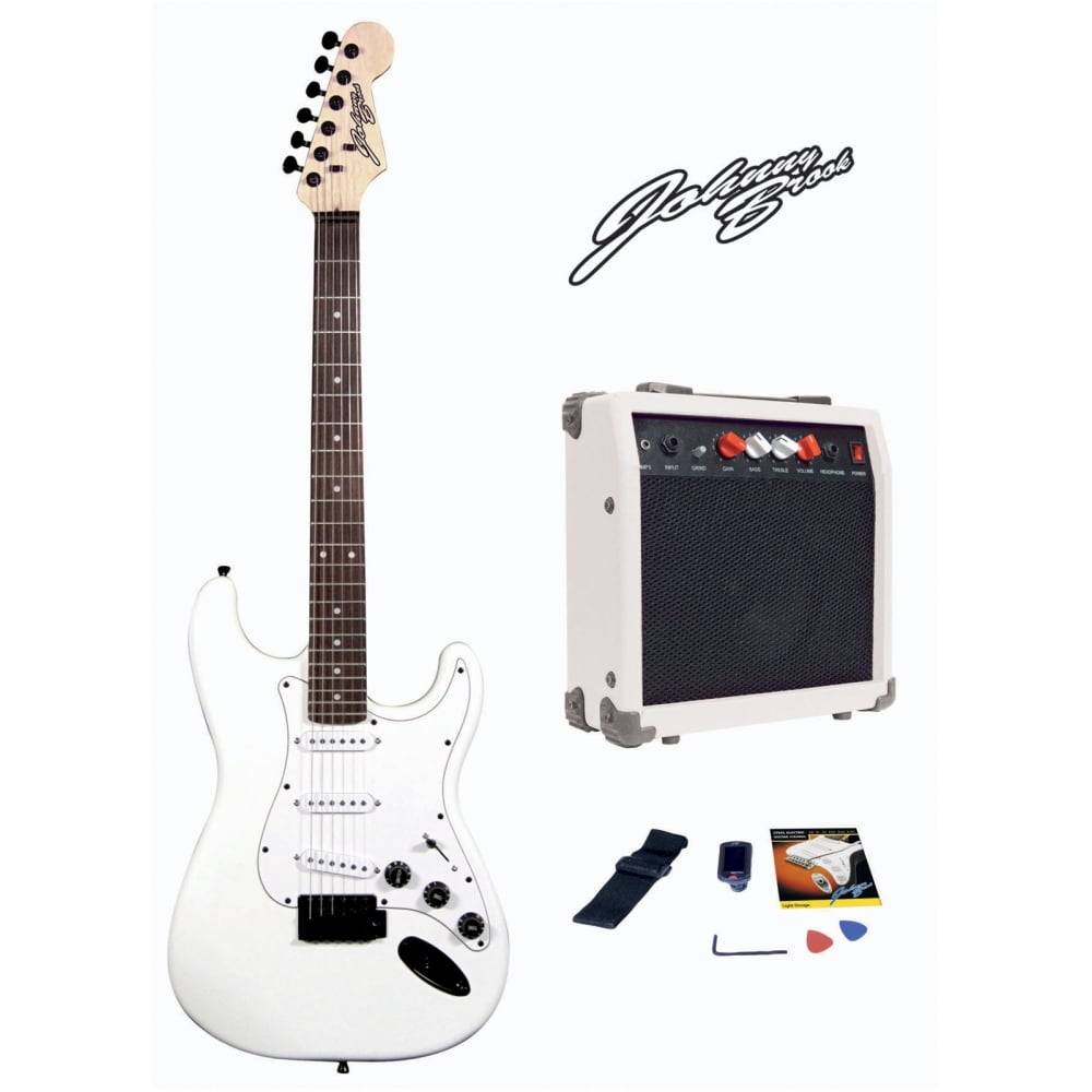 johnny brook white electric guitar with amplifier bag tuner strap. Black Bedroom Furniture Sets. Home Design Ideas
