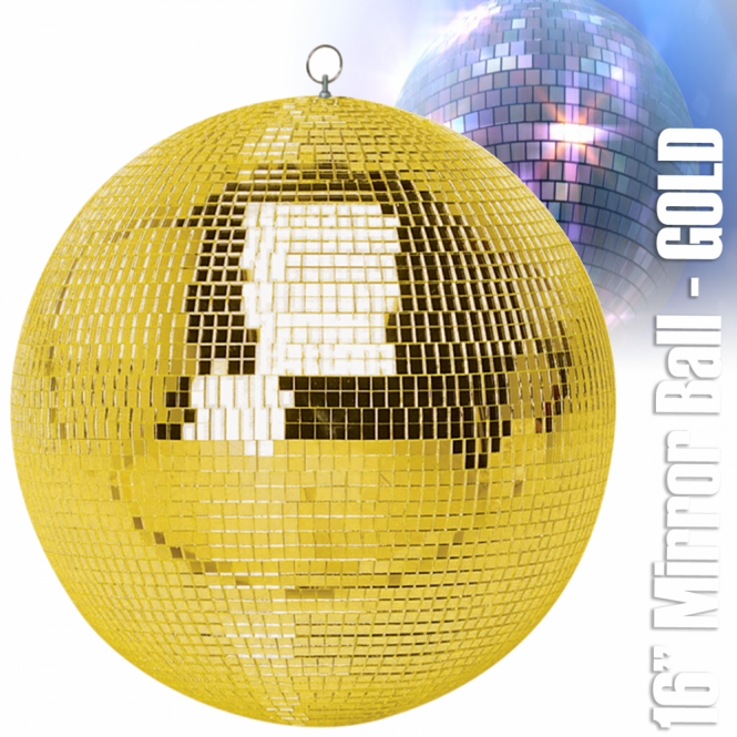 "UKDJ Large Gold Mirror Dance Disco Party DJ Ball Decor 400mm 16"" Golden Mirrorball"