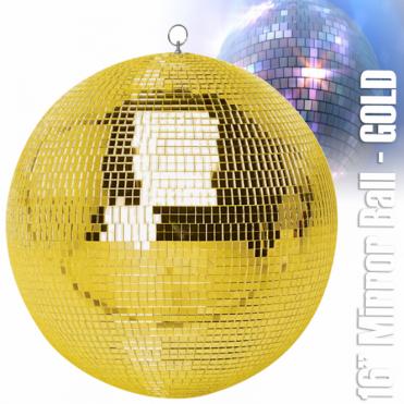 "Large Gold Mirror Dance Disco Party DJ Ball Decor 400mm 16"" Golden Mirrorball"