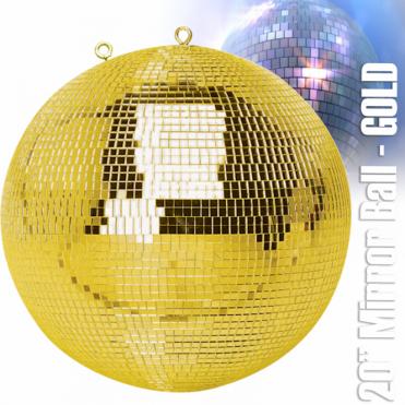 "Large Gold Mirror Dance Disco Party DJ Ball Decor 500mm 20"" Golden Mirrorball"