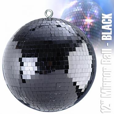 "Lightweight Black Glitz Mirror Dance Disco Party DJ Ball Decor 400mm 16"" Mirrorball"