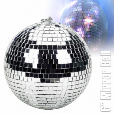 "Lightweight Silver Mirror Dance Disco Party DJ Ball 150mm 6"" Mirrorball"