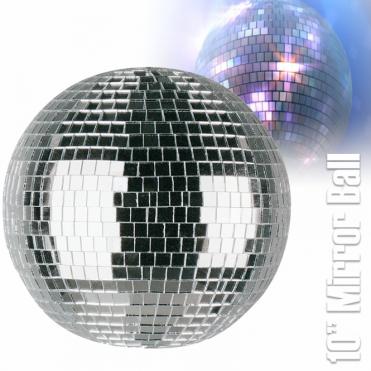 "Lightweight Silver Mirror Dance Disco Party DJ Ball 250mm 10"" Mirrorball"